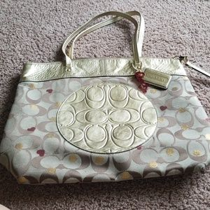 COACH SIgnature Print with Gold Leather accents